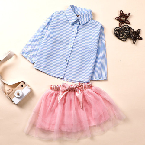 Blue striped shirt and pink mesh skirt set
