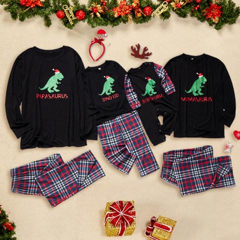 Christmas dinosaur print family matching outfits