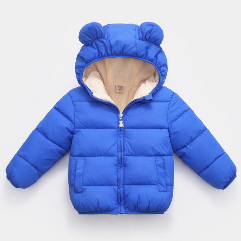 Childrens winter warm 3D ear hooded plush cotton coat