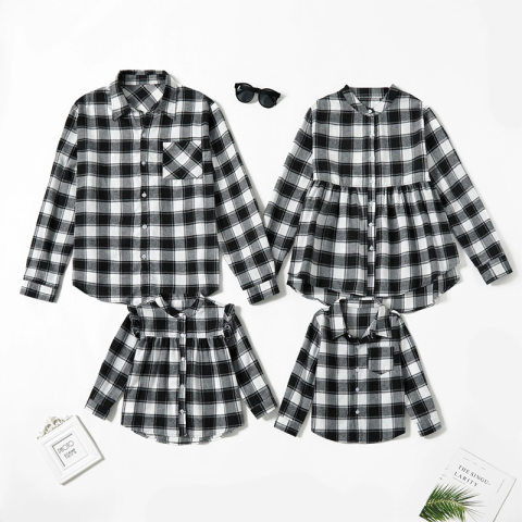 Black and white plaid long sleeve shirt family outfits