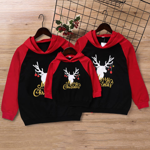 Christmas Printed Red Hooded Sweater Family Outfits