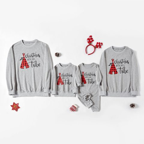 Christmas Printed Grey T shirt Family Outfits