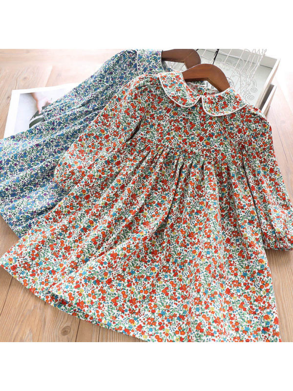 【2Y-9Y】Girls Floral Lapel Long Sleeve Dress
