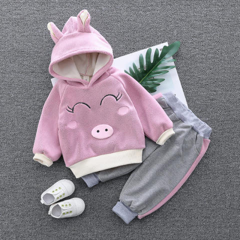 Cartoon embroidered plush hooded sweatshirt and pants set