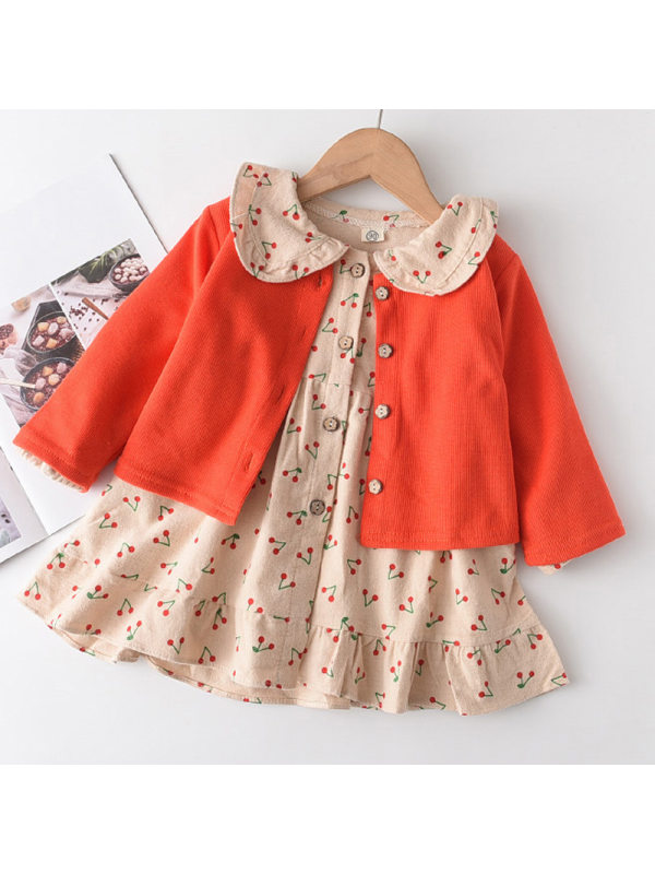 【18M-7Y】Girls Cherry Pattern Lapel Dress Knitted Cardigan Suit