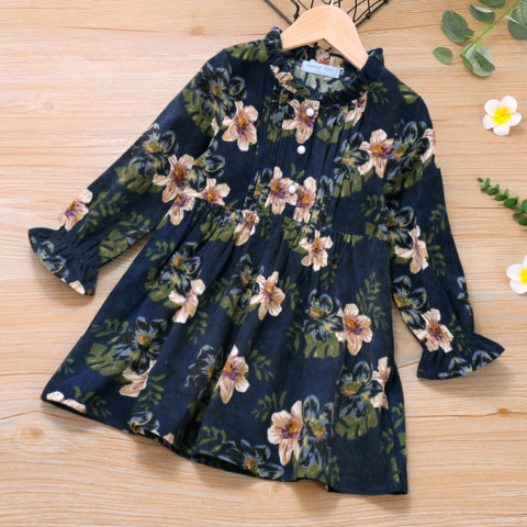 Flower print blue corduroy long sleeves dress