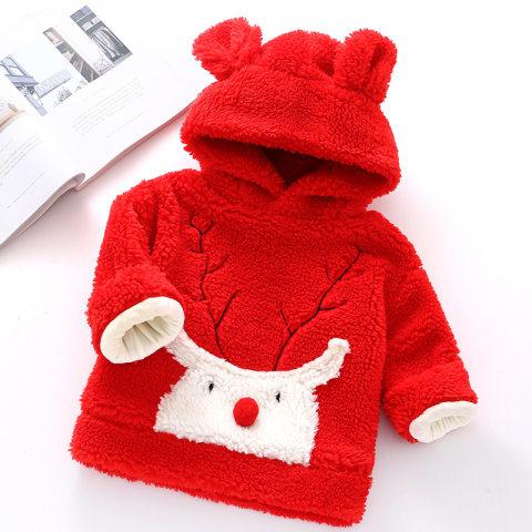Elk embroidered plush hoodie