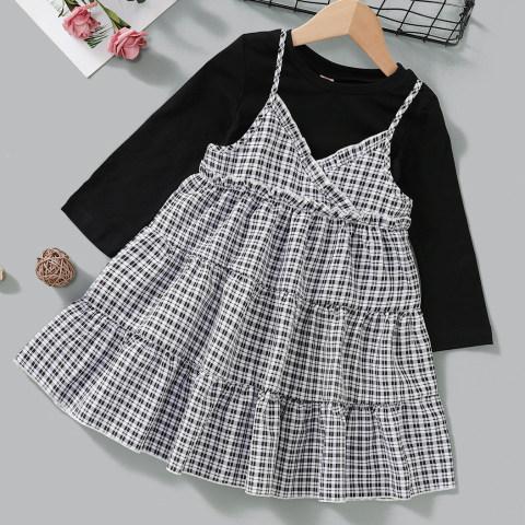 Black T shirt and plaid suspender skirt set