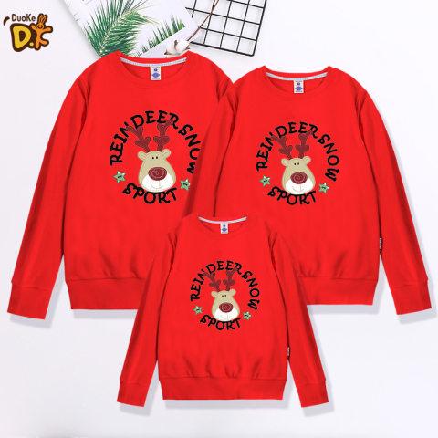 Elk round neck long sleeve family matching sweater