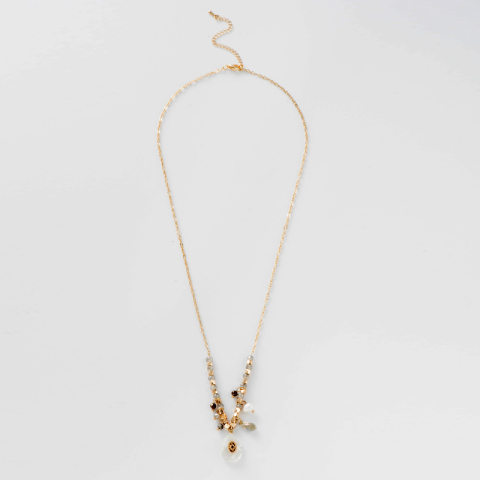 Fashionable French style natural stone drop necklace