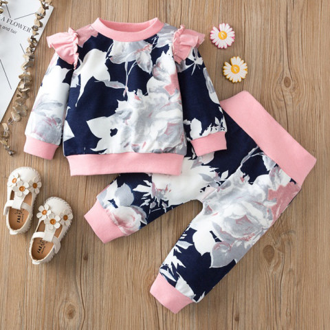 Floral print round neck long sleeved sweatshirt set