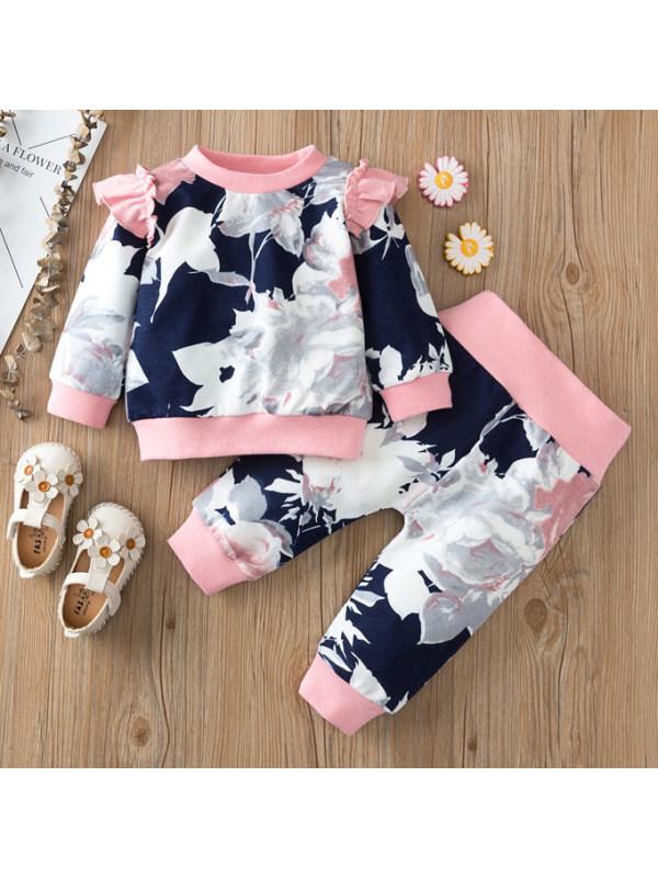 【9M-3Y】Floral Print Round Neck Long-Sleeved Sweatshirt Set