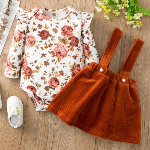 Floral print long sleeve romper and suspender skirt set