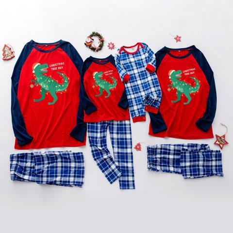 Christmas cartoon print blue plaid family matching outfits