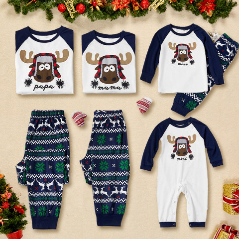 Christmas Elk Pattern Blue Family Matching Outfits