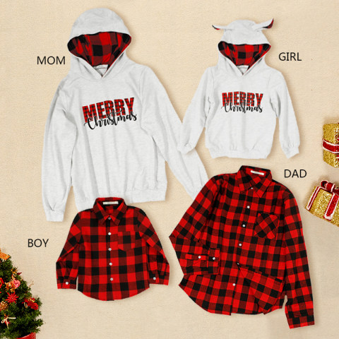 Christmas plaid sweater and shirt family matching outfits