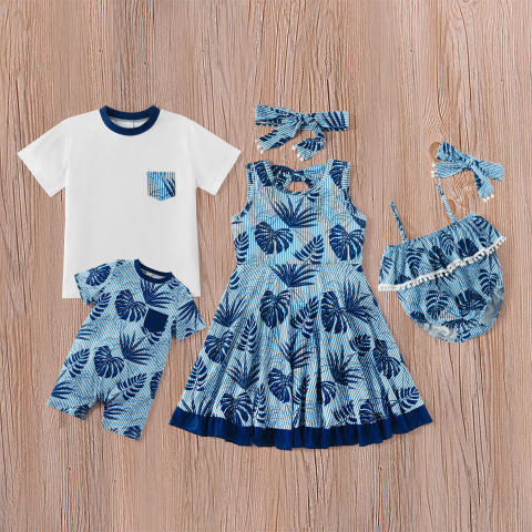 Boys and girls blue leaf pattern family matching outfits