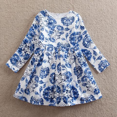 Girl blue flower long sleeve dress
