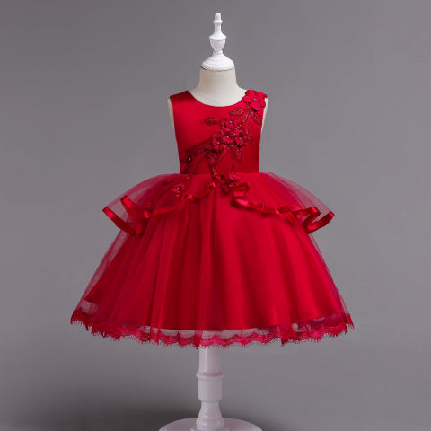 Childrens catwalk appliques puffy gauze skirts childrens stage performances host dresses
