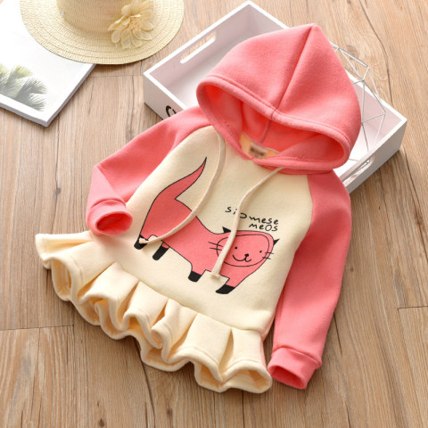 Girl Cute Cat Print Padded Hooded Long Sleeved Sweater