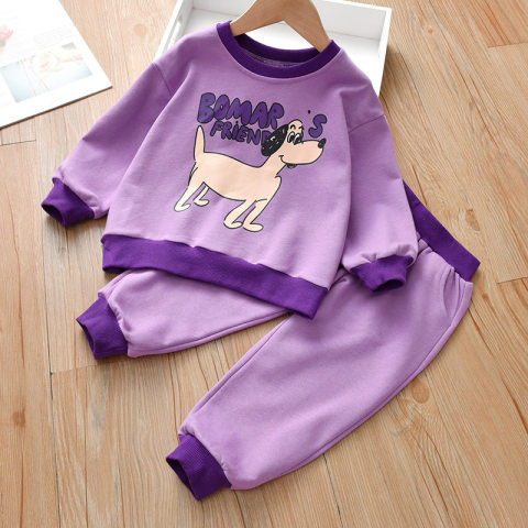 Cartoon print long sleeved round neck sweater and pants set