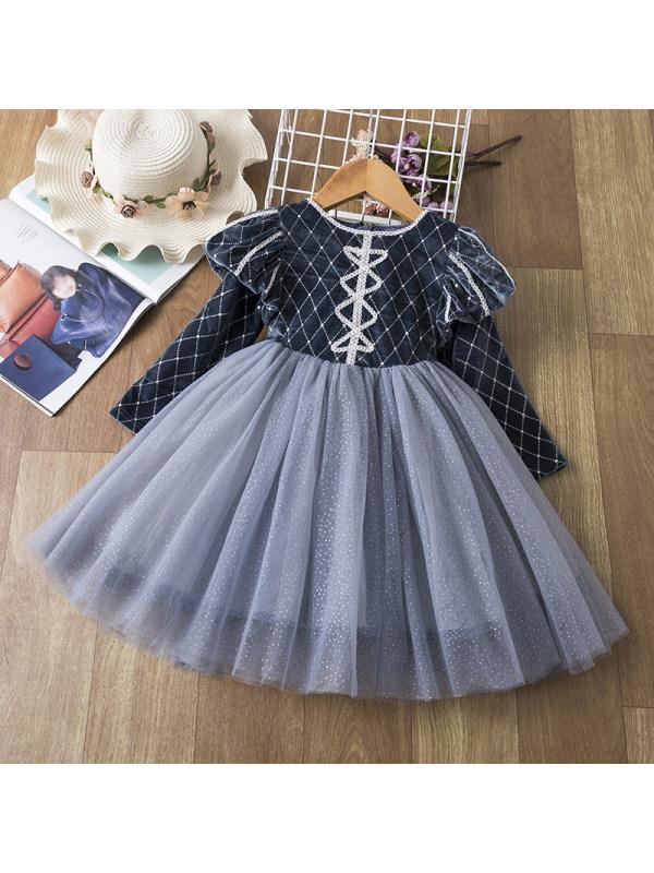 【2Y-9Y】Girl Sweet Blue Diamond Lattice Velvet Round Neck Puff Sleeve Mesh Dress