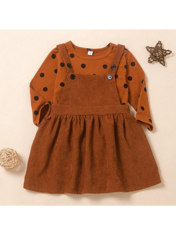 【18M-7Y】Girls Sweet Brown Polka Dot Round Neck T-Shirt Corduroy Strap Skirt Set