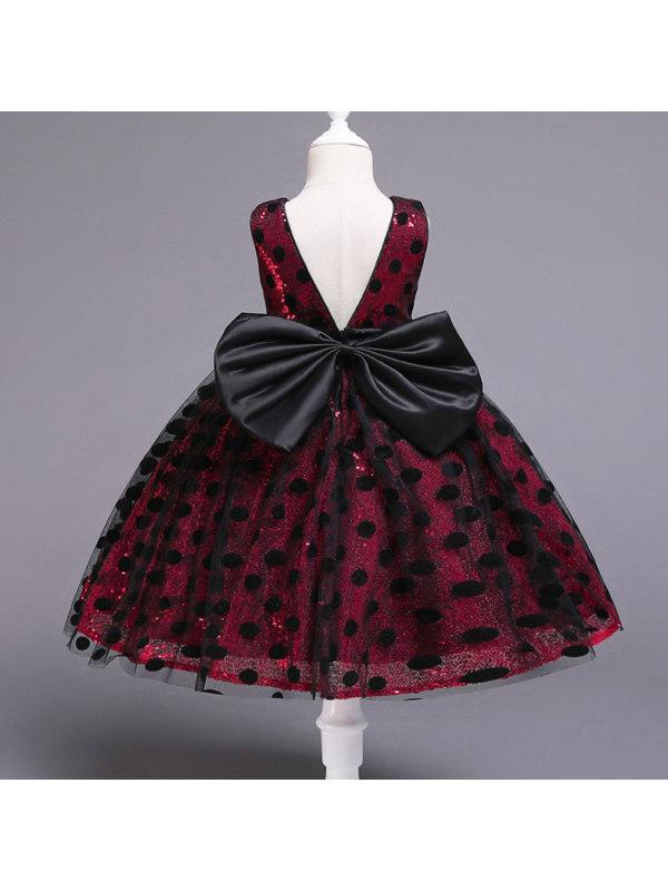 【12M-5Y】Cute Bowknot Backless Polka Dot Mesh Princess Dress