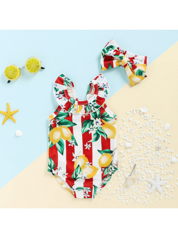 【12M-5Y】Girls Fruit Print Lace Collar One-piece Swimsuit