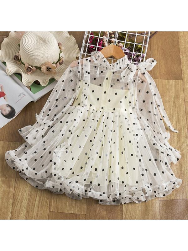 【2Y-9Y】Girl Sweet Polka Dot Mesh Ruffled Long Sleeve Dress