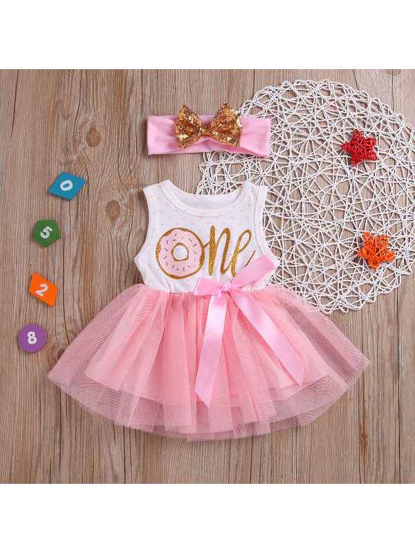 【6M-3Y】Girls Sleeveless Striped Cartoon Mesh Dress