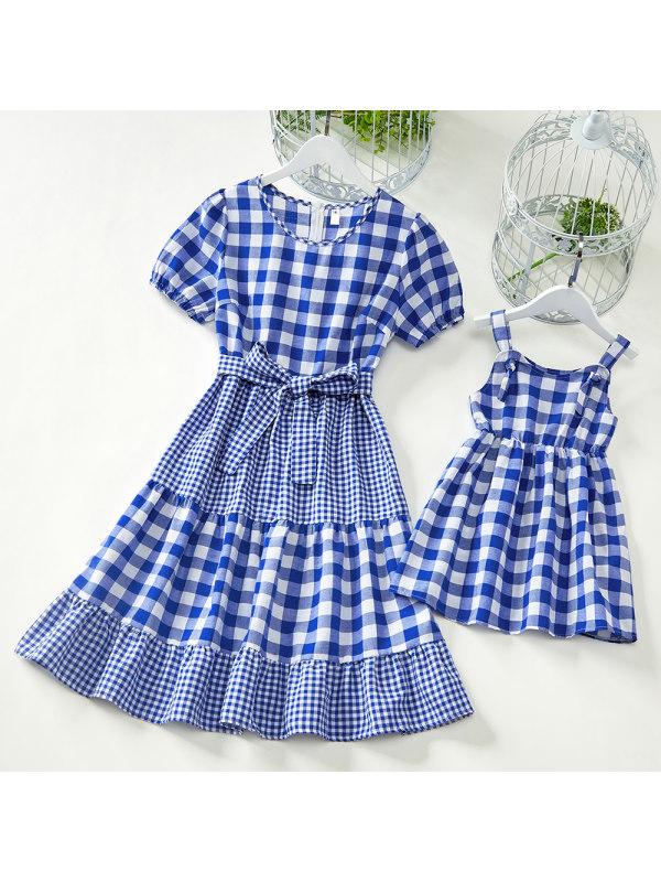 Sweet Blue Plaid Mom Girl Matching Dress