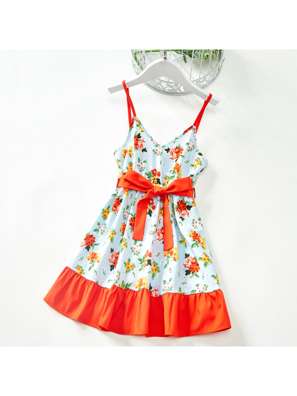 【18M-7Y】Sweet Flower Print Orange Sling Dress