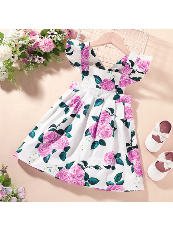 【12M-5Y】Girls Sweet Flower Print Ruffled Sling Dress