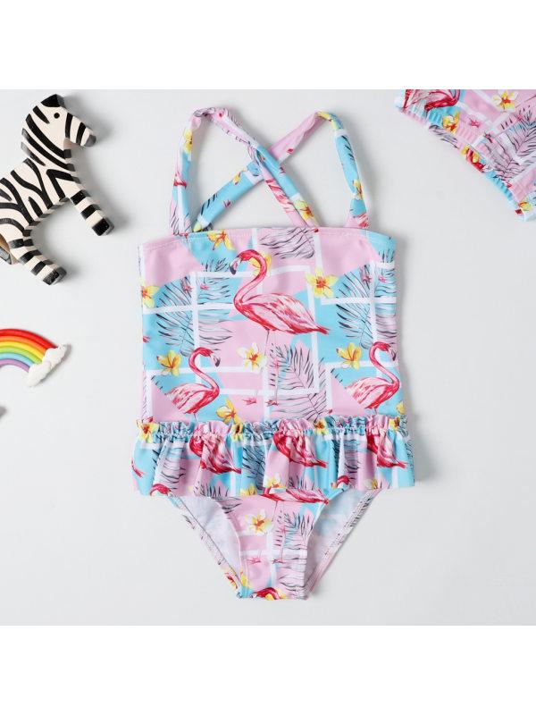 【2Y-7Y】Girls Sweet Flamingo Pattern Lace One-Piece Swimsuit