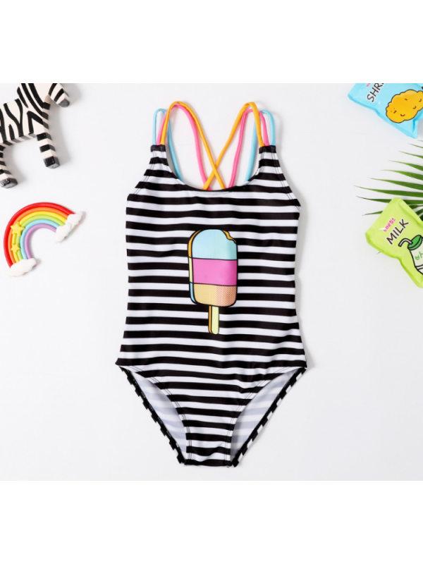 【2Y-7Y】Girls Striped Cartoon Ice Cream Print One-piece Swimsuit