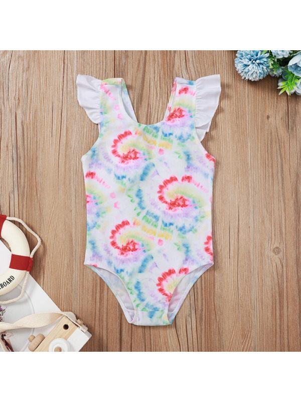 【6M-3Y】Girls Flamingo Pattern Tie-Dye Printed One-Piece Swimsuit