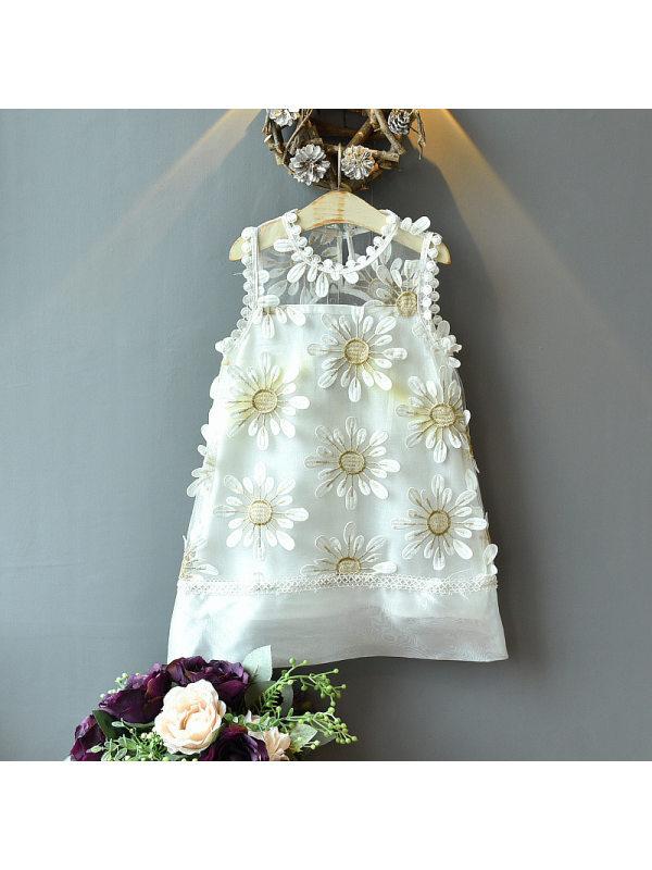 【18M-7Y】Girls Sweet Flower Embroidered Mesh Sleeveless Dress