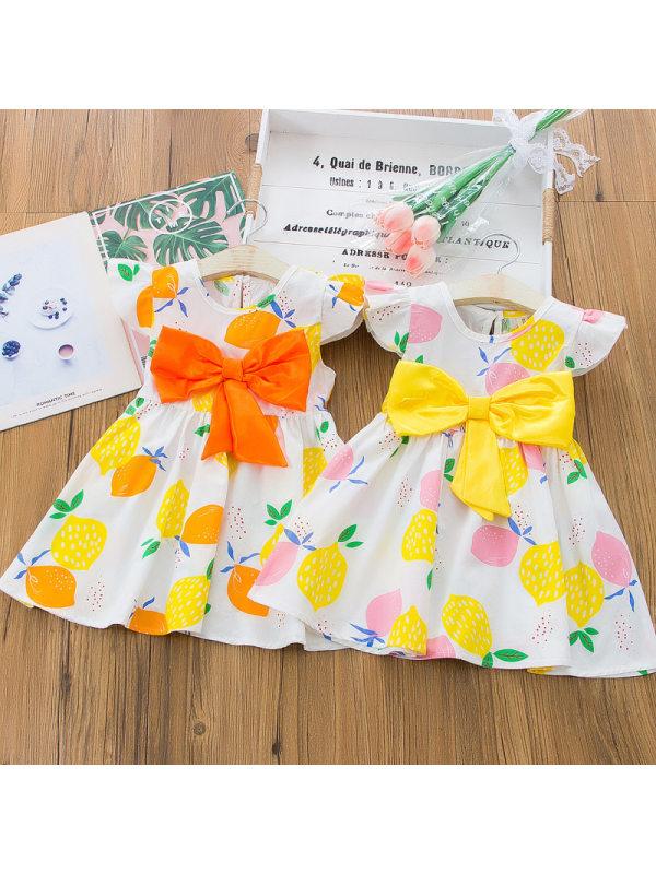 【12M-5Y】Sweet Fruit Print Round Neck Bow Dress