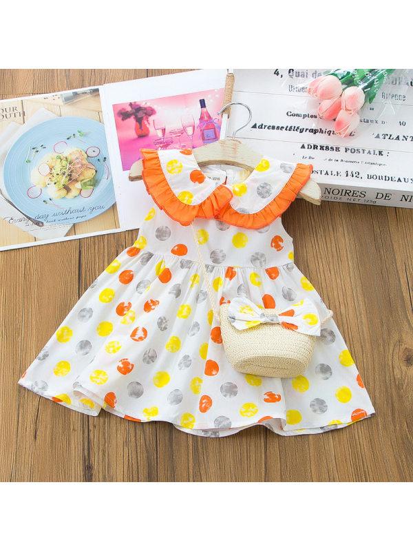 【12M-5Y】Sweet Lapel Colorful Polka Dot Print Dress