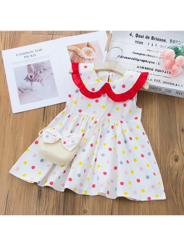 【12M-5Y】Sweet And Colorful Polka Dot Print Sleeveless Dress With Bag