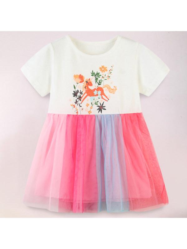 【18M-9Y】Sweet Cartoon Print Round Neck Short Sleeve Mesh Dress
