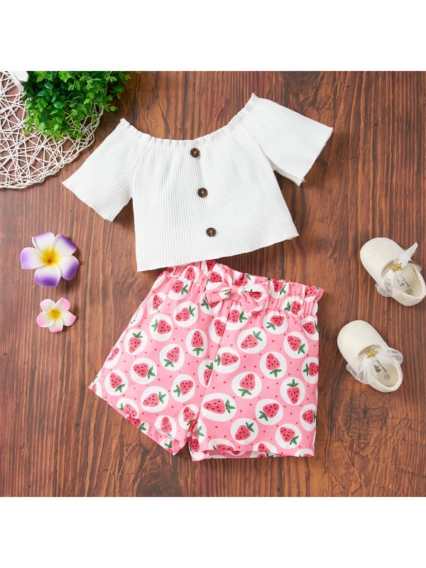 【18M-6Y】Sweet White Top And Pink Printed Shorts Set