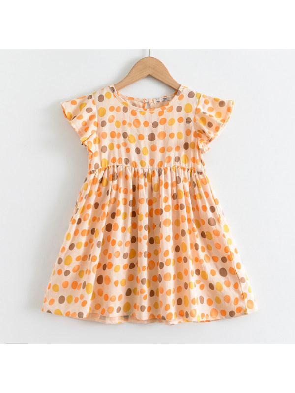 【18M-7Y】Sweet Polka Dot Print Round Neck Yellow Short Dress