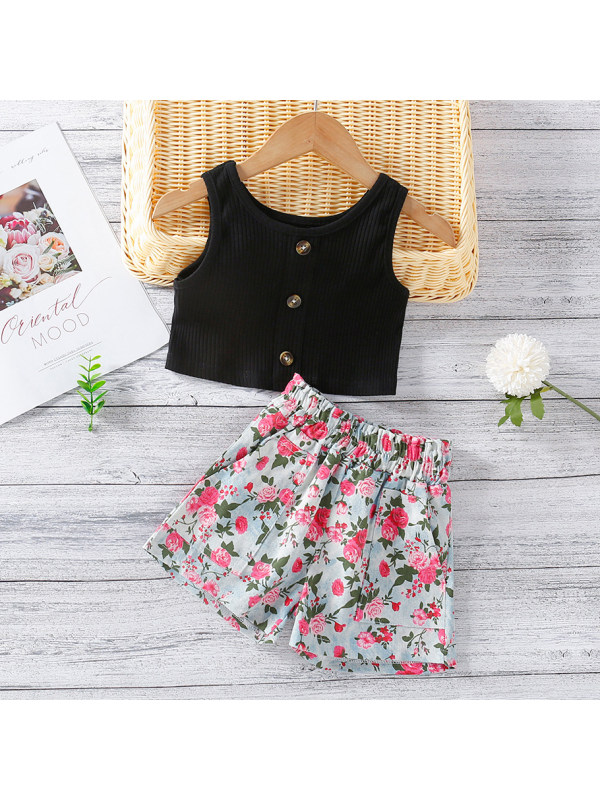 【18M-7Y】Sweet Black Top And Floral Shorts Set