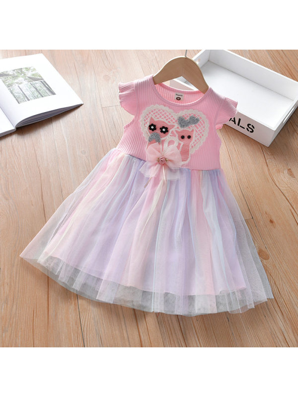 【18M-7Y】Girls Sweet Pink Cat Applique Mesh Dress