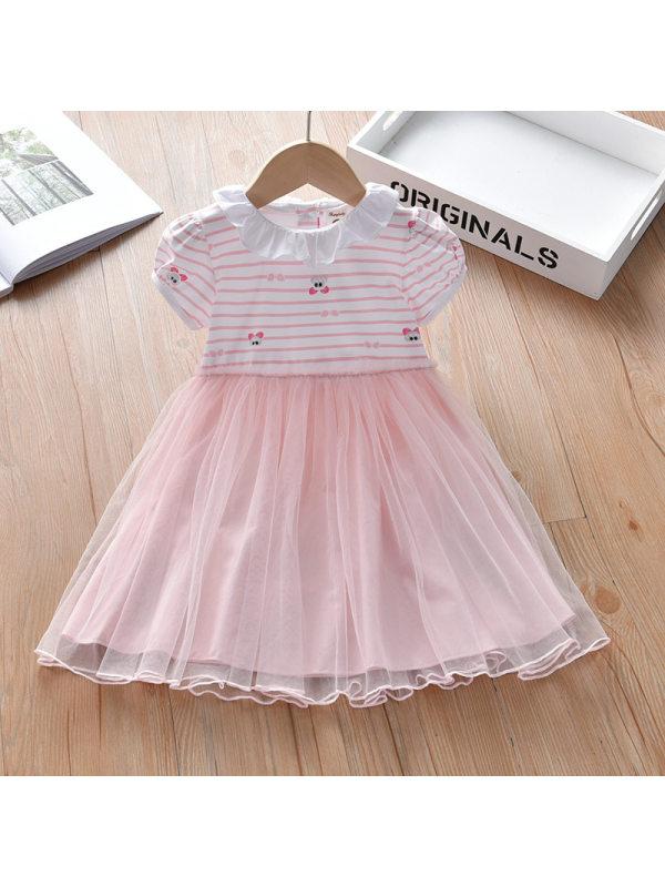 【18M-7Y】Girls Sweet Pink Striped Mesh Short Sleeve Dress