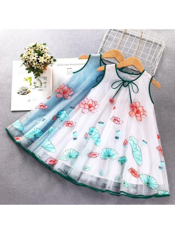 【18M-7Y】Girls Sweet Lotus Embroidered Sleeveless Mesh Dress