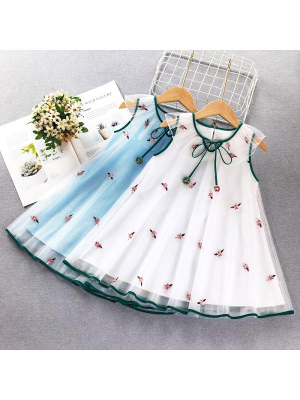 【2Y-9Y】Girls Sweet Little Flower Embroidered Sleeveless Mesh Dress