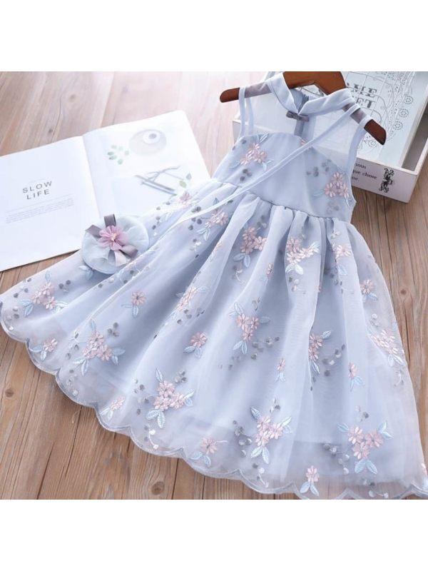 【18M-11Y】Girls Sweet Retro Flower Embroidery Sleeveless Mesh Dress